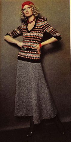 Bus Stop London: Bus Stop Mail Order fairisle top 1978 by Lee Bender 70s long wool skirt grey knit sweater top beret retro repro look 30s 40s black red