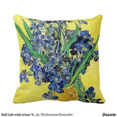 Still Life with Irises Vincent van Gogh Throw Pillow