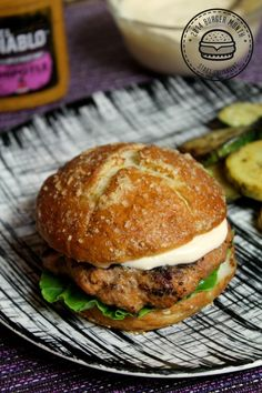 Spicy Mustard & Sweet Potato Turkey Burgers made with Greek Yogurt