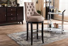 Baxton Studio Harmony Button-tufted Beige Fabric Upholstered Bar Stool with Metal Footrest