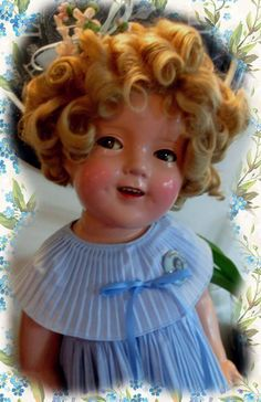 """1930s Ideal Shirley Temple Doll Composition 25"""" Curly Top  in Blue  #Dolls"""