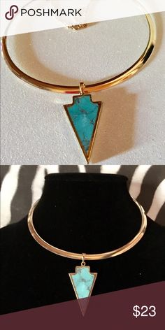 💓Tribal collar gold necklace/chocker w/ arrow This is gorgeous, it is medal gold bib, collar with a natural stone in turquoise arrow, handmade never been worn, offers will be considered Jewelry Necklaces