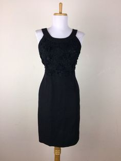 Anthropologie Postmark Dress Size 4 Black Sheath Embroidered Floral Cotton Linen #Anthropologie #Sheath