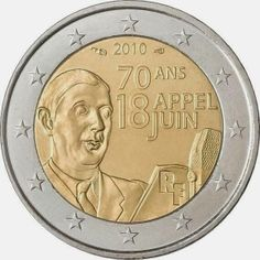 2 Euro Commemorative Coins France 2010, 70th Anniversary of the Appeal of June 18 by General de Gaulle. 2 euro coins from France