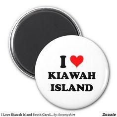 I Love Kiawah Island South Carolina 2 Inch Round Magnet
