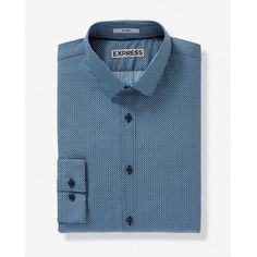 Express Fitted Micro Print Dress Shirt ($70) ❤ liked on Polyvore featuring men's fashion, men's clothing, men's shirts, men's dress shirts, blue, mens slim shirts, mens tie dye shirts, mens slim ties, mens patterned dress shirts and mens long sleeve shirts