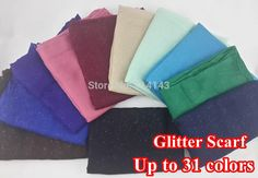 10pcs/lot Glitter Shinning Bling Scarf Shawl Head Wrap Plain Solid Col | SATTAJ USA