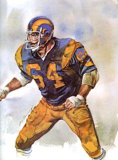 Jack Reynolds, LA Rams Middle Linebacker. Portrait by Merv Corning 1979.