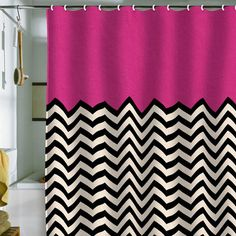 Hot Pink Yes and Chevron shower curtain!
