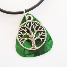 Guitar Pick Necklace Tree of Life Green by susanwilliamsdesigns