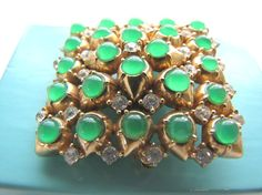 Vintage Ciner Brooch Ciner Jewelry Rhinestone Brooch Green Translucent Stone 50's Costume Jewelry Signed Ciner Collectible from AllieEtCie