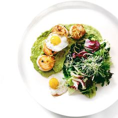 Pan-Seared Scallops with Avocado Purée, Burnt Butter & Quail Eggs