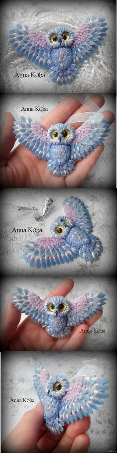 Owl!  I want an owl!  Is it possible that out?  Delicate)))) This crystal-winter sova- pendant with servo eyes.  Material: polymer clay, Czech glass, metal accessories.