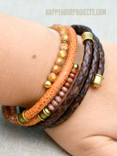 DIY Leather Memory Wire Bracelets - great way to use the braided leather cord i have leftover. at www.happyhourprojects.com