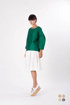 Green taffeta loose fitting top - OCHEBOUTIQUE