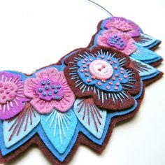 felt ideas | blue & purple embroidered felt