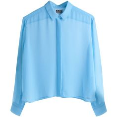 Blouses Peak Blouse Turquoise ❤ liked on Polyvore featuring tops, blouses, shirts, long sleeves, longsleeve shirts, shirts & blouses, blue shirt, long sleeve tops and turquoise tops