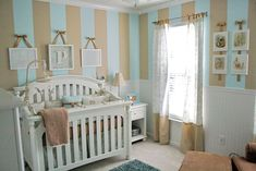 Baby Girl Nursery Decorating Ideas | striped baby boy nursery decorated in blue caramel toile with beatrix ...