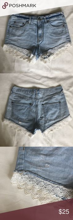 Free People Lace Trim Denim Cutoff Shorts In excellent used condition. No flaws. Fit true to size. So so cute  Feel free to comment any questions! Free People Shorts Jean Shorts