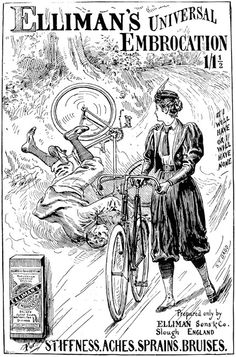 """An 1897 ad featuring a woman in bloomers. """"Ellimans-Universal-Embrocation-Slough-1897-Ad"""". Licensed under Public Domain via Wikimedia Commons."""