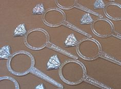 Glitter Diamond Ring Cupcake Toppers