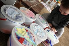 Continent Buckets - Each bucket is filled with treasures, facts, and artifacts from each continent.