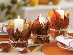 pretty, wrap a candle holder with fall leaves and twine