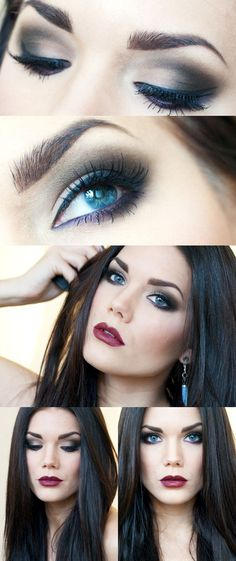 Classic smokey eye and deep dark red vampy lips, sultry and dramatic, great for a date, club, or just a night out. Created by makeup artist Linda