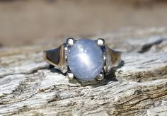 Vintage Antique 3.50ct Blue Star Sapphire Unique Engagement Ring Modernist 14k White Gold Mid Century Retro by DiamondAddiction on Etsy