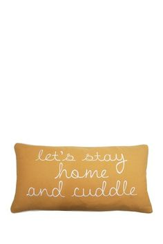 "Let's Stay Home and Cuddle Honey Gold Cotton Canvas Pillow - 12"" x 24"" by Thro Home on @HauteLook"