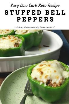 The best low carb stuffed bell peppers! Ground beef, creamy tomato sauce, and cauliflower rice baked inside a bell pepper. Topped with mozzarella cheese! #keto #lowcarb #cauliflowerrice