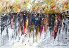 """""""PROMENADE"""" -  opera di Roberto Sironi - acrilico su tela - 70 x 100"""