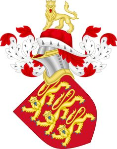 Royal Arms of England - Wikipedia, the free encyclopedia. The original royal crest as introduced by Edward III, borne upon a chapeau and with a red mantling lined in ermine. The steel helm has gold embellishments. Luis Ix, Duke Of Lancaster, Edward Iii, Defender Of The Faith, Royal Art, Knights Templar, Crests, Coat Of Arms, Badge
