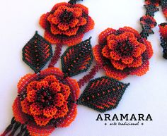 Mexican Huichol Beaded Flower Necklace and Earrings set by Aramara Seed Bead Bracelets Diy, Seed Bead Necklace, Flower Necklace, Beaded Necklaces, Seed Beads, Beaded Jewelry, Beading Tutorials, Beading Patterns, Beaded Christmas Ornaments