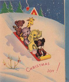 Vintage 1930s Art Deco Christmas Joy Animals On A Snow Sledge Greetings Card…