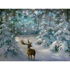 Xmas House Deer DIY 5D Full Diamond Embroidery Painting Cross Stitch Home Decor