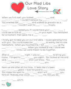 Our Mad Libs Love Story ~ Free Printable (and laughs!) - Or so she says...