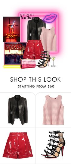 """""""Red Patent Leather Shorts"""" by tia2 ❤ liked on Polyvore featuring Alexander McQueen, Banana Republic, Valentino, Christian Louboutin and INC International Concepts"""
