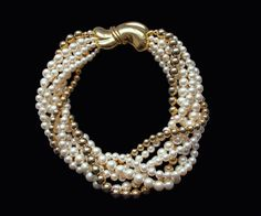 1980s Napier faux pearls and gold tone beads with by Oselavy