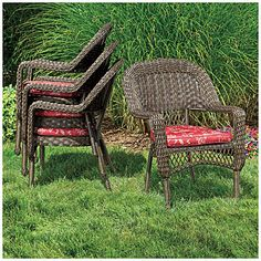 Wilson U0026 Fisher® Resin Wicker Savannah Cushioned Stack Chair At Big Lots. Part 33