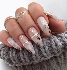 Bridal Nail Art Ideas For 2020 That Every Bride Needs On Their Wedding Day! - Bridal Nail Art Ideas For 2020 That Every Bride Needs On Their Wedding Day! Bridal Nail Art Ideas For 2020 That Every Bride Needs On Their Wedding Day! Almond Nails Designs, Marble Nail Designs, Marble Nail Art, Cute Nail Designs, Acrylic Nail Designs, Bridal Nails Designs, Silver Nail Designs, Beautiful Nail Designs, Chic Nails