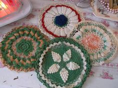 Antique Variety  lot Shabby Roses Pot Holders pot holder covers by BitsOfLeatherNLace on Etsy https://www.etsy.com/listing/192135357/antique-variety-lot-shabby-roses-pot