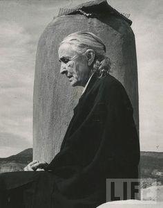 Artist Georgia O'Keefe sits at her home near Santa Fe, New Mexico, 1967