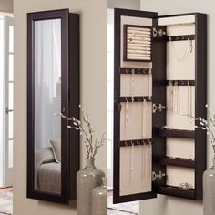 Goplus New Mirrored Jewelry Cabinet Armoire Mirror Organizer