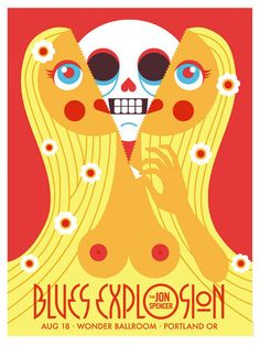 Original silkscreen concert poster for The Jon Spencer Blues Explosion at the Wonder Ballroom in Portland, OR in 18 x 24 on card stock paper. Limited edition of only 100 signed and numbered by artist Dan Stiles. Rock Posters, Concert Posters, Music Posters, Concert Tickets, Illustration Photo, Graphic Illustration, Screen Print Poster, Poster Prints, Stiles