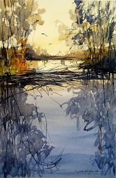 Evening in the Wetlands by Sandy Strohschein Watercolor ~ 16 x 12