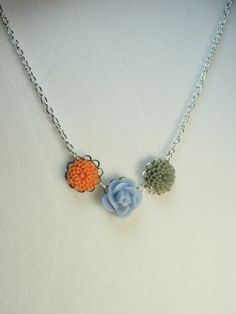 Little flower necklace  trio of tiny resin by lennonsleadinglady, $14.00