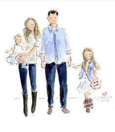 Watercolor Portraits, Watercolor Print, Watercolor Illustration, Mother Daughter Quotes, Mother Art, Family Drawing, Family Painting, Dancing Drawings, Familia Anime