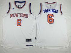 New York Knicks  6 Porzingis White Men 2017 New Logo NBA Adidas Jersey (1 e886ec8ef