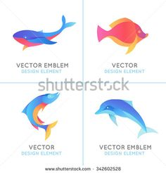 Vector set of abstract emblems and logo design templates in bright gradient colors - fish icons and signs - stock vector